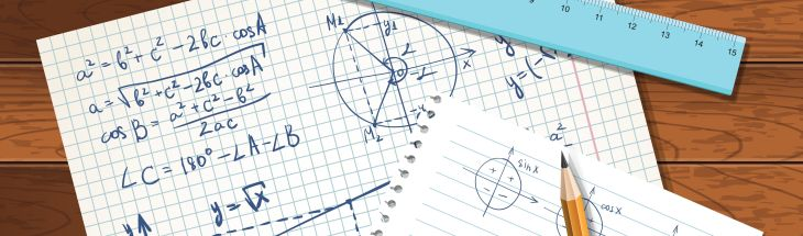 Illustration with formulas on a copybook paper, rulers and pencil